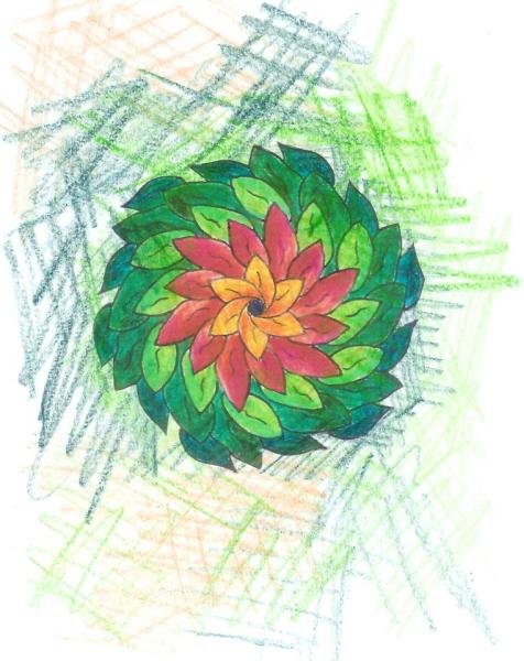 Mandala au magnolier et merlebleu et danse des papillons Scan0020